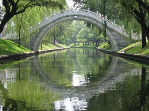 Stone bridge over canal in Beijing Black Bamboo Forest